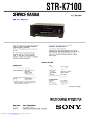sony str k7100 multi channel av receiver manuals rh manualslib com sony str-k7100 manual sony str-k7100 remote