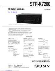 sony str k7200 av receiver component manuals rh manualslib com sony receiver str-k7100 manual sony multi channel av receiver str-k7100 manual
