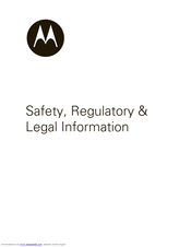MOTOROLA MILESTONE - Safety Information Manual