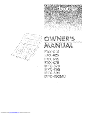 Brother MFC-695 Owner's Manual