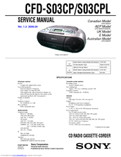 Sony CFD CFD-S03CP Service Manual