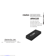Clarion APA4320 Operation And Installation Manual