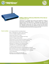 TRENDnet TEW-P21G B1 Wireless Print Server XP