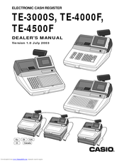 CASIO TE-3000S - Cash Register Dealer's Manual