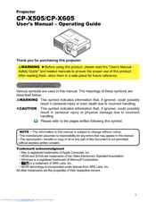 Hitachi CP-X505W and User Manual – Operating Manual