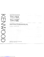 Kenwood TH-78E User Manual