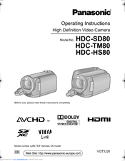 Panasonic HDC-TM80 Operating Instructions Manual
