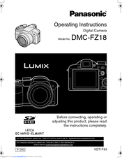panasonic lumix dmc fz18 operating instructions manual pdf download rh manualslib com Panasonic Lumix DMC-GF2 Panasonic Lumix DMC FZ18 Battery