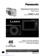 panasonic lumix dmc lx2 operating instructions manual pdf download rh manualslib com panasonic dmc lx2 manual panasonic dmc-lx2 manual pdf