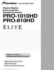 Pioneer Elite PRO-1010HD Operating Instructions Manual