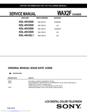 SONY BRAVIA KDL-40V2500 SERVICE MANUAL Pdf Download