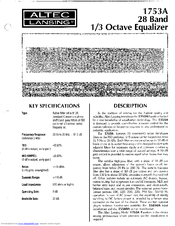 Altec Lansing 1753A SIGNAL PROCESSING Manuals