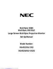 NEC XG85-XG135LC - 1 Manual