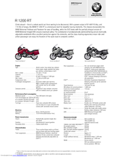 BMW R 1200 RT Technical Data