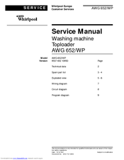 WHIRLPOOL AWG 652/WP - SERVICE Service Manual