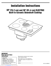 KitchenAid KECD866RBL - Pure 36 Inch Smoothtop Electric Cooktop Installation Instructions Manual