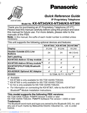 Panasonic KX-NT346 Quick Reference Manual