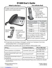 uniden d1688 2 manuals rh manualslib com Uniden- DECT 6.0 Corded Phone Uniden- DECT 6.0 Cordless Phones