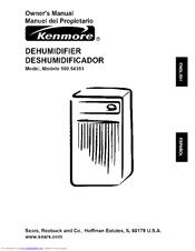 Kenmore 54351 - 35 Pint Dehumidifier Owner's Manual