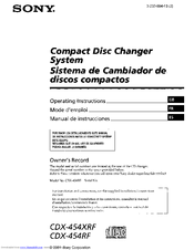 Sony 454RF - CDX CD Changer Operating Instructions Manual