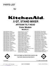 KitchenAid KSM150PSSY0 Parts List