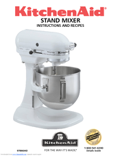 Kitchenaid K5sswh Heavy Duty Series Stand Mixer Instructions And Recipes Manual