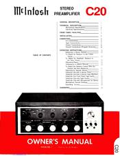 mcintosh c20 operating instructions manual pdf download rh manualslib com