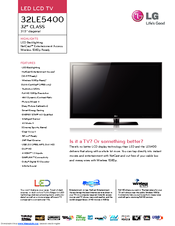 LG 32LE5400 Specifications
