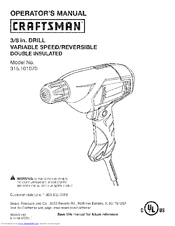 Craftsman 10107 - 3/8 in. Corded Drill Operator's Manual