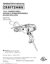Craftsman 10137 - 1/2 in. Corded Hammer Drill Operator's Manual