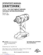 Craftsman 315.114831 Operator's Manual