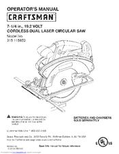 craftsman 11585 c3 19 2 volt 7 1 4 in circular saw operator s rh manualslib com craftsman circular saw 315 manual craftsman 218 circular saw manual