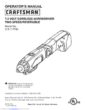 Craftsman 11779 - 7.2V NiCd Screwdriver Operator's Manual