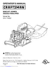 Craftsman 17539 - 6.0 Amp Plate Jointer Operator's Manual