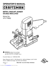 Craftsman 17550 - 3.5 Amp Detail Biscuit Jointer Operator's Manual