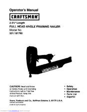 Craftsman 18178 - Full Head Framing Nailer Operator's Manual