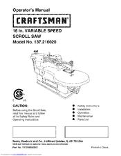 craftsman 137 216020 manuals rh manualslib com craftsman 16 inch scroll saw single speed manual craftsman 16 inch variable speed scroll saw manual