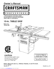 craftsman 22124 professional 10 in table saw manuals rh manualslib com manual table saw 113 241680 manual craftsman table saw