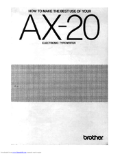 Brother AX-20 User Manual