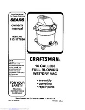 Craftsman 113.177890 Owner's Manual
