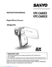 Sanyo Xacti VPC-CA65EX Manuals