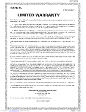 Sony CCD-TRV211 Limited Warranty