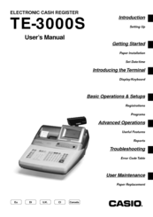 Casio TE-3000S - Cash Register User Manual