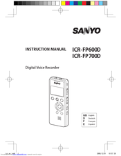 Sanyo ICR-FP600D - Digital MP3 Voice Recorder Instruction Manual