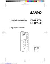 sanyo icr fp700d digital voice recorder manuals rh manualslib com Sony Digital Voice Recorder Manual Digital Voice Recorder VR5320R Manual