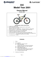Giant 2001 XtC Mt. Snow Owner's Manual