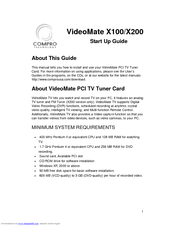 Compro VideoMate X200 Manuals