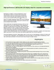 NEC EA223WM-BK Specifications
