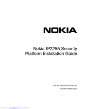 Nokia IP2255 - Security Appliance Installation Manual