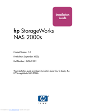 HP 345646-001 - StorageWorks NAS 2000s External Storage Server Installation Manual